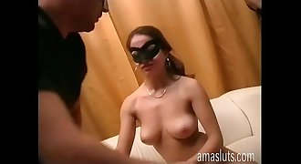 Passionate kiss and dirty sex for a real couple in mask