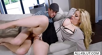 Horny big tits blonde Mummy Ashley Down caught masturbating and gets fucked