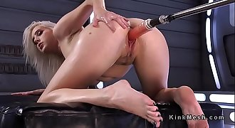 Blonde rides sybian saddle and moans
