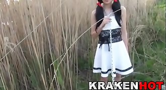 Krakenhot - Submission of a chained brown-haired teen outdoor