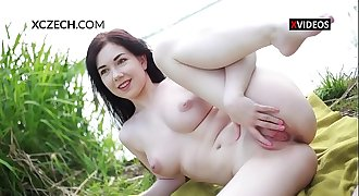 Daphne Angel masturbating and showing pussy outdoor