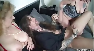 German Mom and Aunt Entice Younger Man to Fuck Her