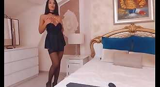 Amazing Latina camgirl wearing black nylon stockings and black skirt do real orgasm with faux-cock on we