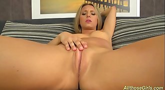 cute whitney conroy plays with her pink dildo